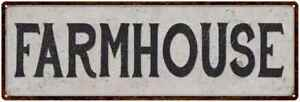 Farmhouse Vintage Look Reproduction Black on White Metal Sign 106180023023