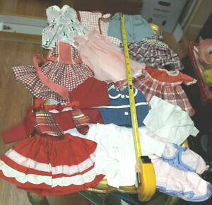 OLD VINTAGE DOLL CLOTHES OUTFITS DRESSES FOR VARIOUS HARD PLASTIC DOLLS LOT