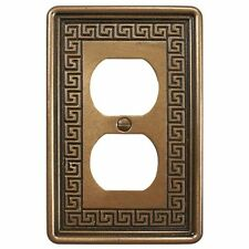 Wall Switch Plate Cover Double Outlet Greek Key Design Decora in Metallic Bronze