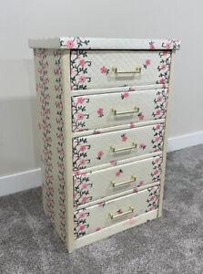 """Vintage Wood Framed Vinyl Cardboard Floral Dresser 30"""" ~ Cozy Home KC Products"""