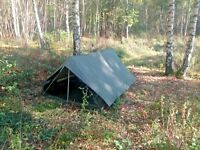 NATO ARMY ISSUE NYLON 2 MAN HEAVY DUTY TENT - GROUNDSHEET - POLES - PEGS - NEW