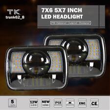 "Pair 5X7"" 7X6'' Black LED Headlight H4 Hid Bulb For Jeep Cherokee XJ YJ MJ H6054"