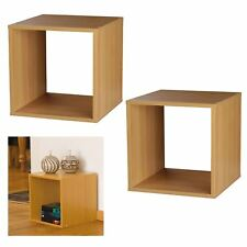 2 x Wooden Beech Storage Cube Box Side Table Cupboard Cabinet Stackable Square