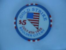 New listing $5 Gold Strike 1995 4Th Of July Chip Flag Shaped Nevada Obsolete Free Shipping