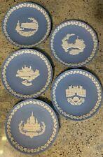 Lot Of 5 Wedgwood Blue Christmas Jasperware Collector Plates 1969-1979