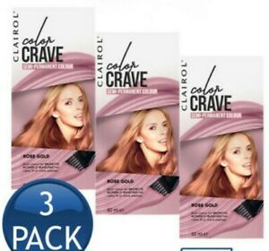 Clairol Color Crave Rose Gold Semi-Permanent Colour 60ml Hair Dye Pack of 3