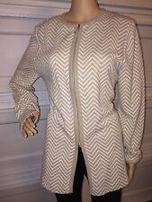 Leslie Fay Habersashery chevron zip up jacket blazer cardigan sweater sz medium