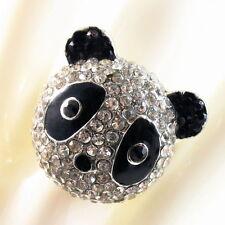 USA RING Rhinestone Crystal Fashion gemstone Panda Animal Silver SIZE 9 finger