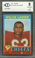 1971 topps #114 WILLIE LANIER kansas city chiefs rookie card BGS BCCG 8