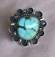 ❤️VINTAGE❤️ MORENCI Turquoise With Pyrite Beautiful Floral Southwestern Ring Boh