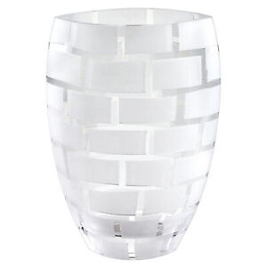 """Frosted Wall Design on Mouth Blown European 12"""" Crystal Vase"""