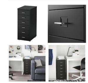 IKEA HELMER Schubladenelement auf Rollen in schwarz 28x69 Rollcontainer Schrank