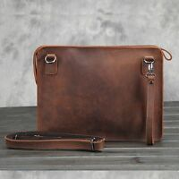 Men's Wristlet Wallet Shoulder Envelope Clutch Bag  Leather Messenger Briefcase