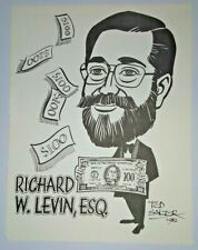 Richard W. Levin caricature 1988 The Magic Castle Walls of Fame book Ted Salter