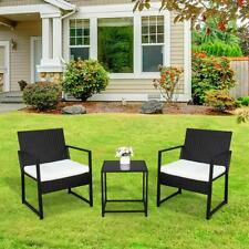 3 Pieces Conversation Sets Patio Furniture Set PE Rattan Wicker Chairs Tea Table