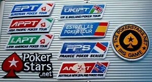 POKER IRON ON PATCH - EPT, BIG GAME, UKIPT, FRENCH  SPANISH TOUR ANZPT - STARS