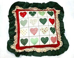 Handmade Quilt Pillow Red Hearts Green Ruffles 14 x 14 in