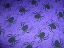 Halloween Black Spiders Webs Purple Cotton Quilt Fabric BTY