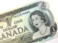1973 Canada 1 One Dollar Circulated AA Replacement Lawson Bouey Banknote R314
