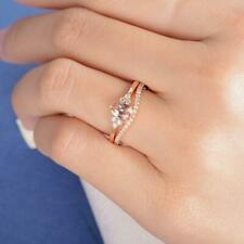 Pear Shape Morganite Bridal Wedding Engagement Cluster Ring 14K Rose Gold Finish