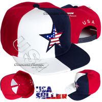 USA American Flag Baseball Hat Star Cap Snapback Adjustable Flat Brim Men Casual