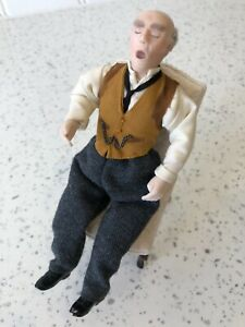 Dolls house miniature 1:12 porcelain snoring man doll - FULLY POSABLE
