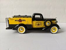 1/28 Scale Die Casting Car Bank 1936 Dodge Tankers Pennzoil Black & Yellow Mint