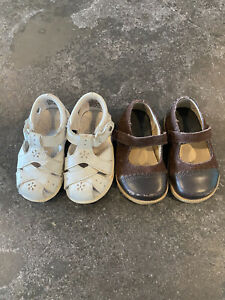 2 Baby Girls JANIE and JACK Brown Leather Shoes & White Stride Rite Sandals Sz 4
