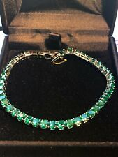 8.00 Ct Round Green Emerald Tennis Bracelet Women Jewelry 14K White Gold Finish