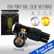 White Amber 7443 Dual Color Switchback Projector LED Turn Signal Light Bulbs