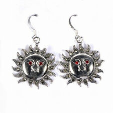 Stunning Sun Marcasite Earrings Sterling Silver 925 Fashion Jewelry Gift