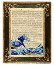 Great Wave Off Kanagawa 1 Art Print on Antique Book Page Mt. Fuji Woodblock