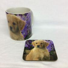 Golden Retriever Violet tasse et sous verre Set