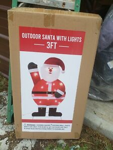 Creative Home Kitchen CVS Outdoor 3' Santa with Lights Christmas Yard Decor