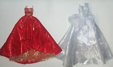 BARBIE DOLL CLOTHES LOT LONG EVENING GOWNS DRESSES RED SILVER HOLIDAY PARTY
