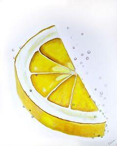 Modern Lemon Slice acrylic still life painting on stretched canvas