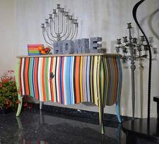 Commode A Rayures Bois Mango Style Retro Moderne Vintage Multicolore Design