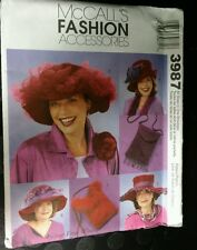 MCCALLS Sewing Pattern 3987 Hats Faye Wine  /Crossbody Bag purse Costume uc