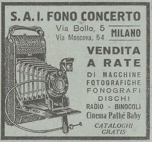 V1923 S. A. I. Fono Concert - Milano - Sold IN Rate - 1931 Advertising Classic