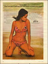 1974`Swim Bali the Two-piece bathing Suit`Sexy Model Tan Fashion  Beach PRINT AD