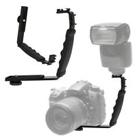 Double Dual L-shaped Angle Bracket/Holder Mount for Canon Camera&Speedlite Flash