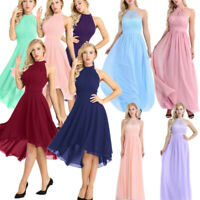 Womens Lace Halter Maxi Dress Formal Wedding Party Evening Bridesmaid Prom Gown