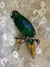 Guilloche Enamel Silver Brooch New Zealand Parakeet Bird Hallmarked Vintage Old