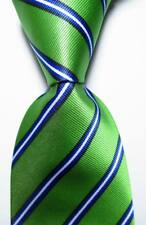 New Classic Striped Green Black Blue White JACQUARD WOVEN Silk Men's Tie Necktie
