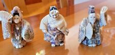 Netsuke Lot of 3 Beautiful Hand Carved Figures w/Colorfill