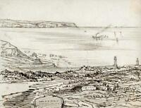 HANNAH SARAH TURNER BRIGHTWEN Small Pen & Ink Drawing WHITBY FROM CHURCH 1865