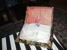 Antique Wood Handkerchief Box W/ Lot Of 17 Lace Embroidered Handkerchiefs