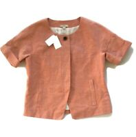 "J Crew Size 4 Linen Jacket ""Maybelle"" Peach Salmon Blazer Lined Short-Sleeve NEW"