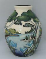 Moorcroft Grassmere Bluebell vase - signed by designer Nicola Slaney - shape ...