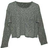 NEW LADIES GIRLS Ex TOPSHOP RETRO CROPPED RIBBED SLOUCHY JUMPER GREY SZ 6 - 12